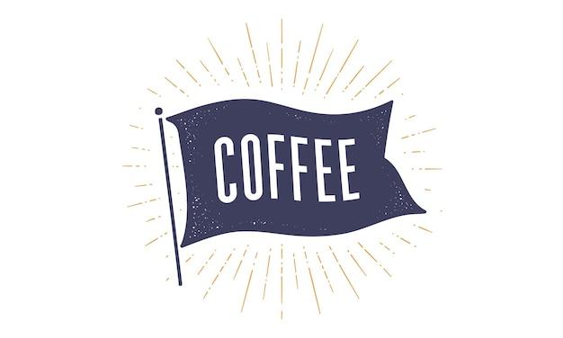 Koffie. vlag grafisch. oude vintage trendy vlag met tekst koffie. vintage banner met lintvlag, vintage stijl met lineaire lichtstralen, zonnestraal en zonnestralen. vectorillustratie