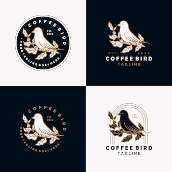 Koffie vogel vintage logo ontwerpsjabloon.