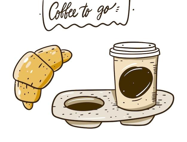 Koffie voor onderweg in draagbare verpakking en croissant. hand tekenen cartoon stijl. geïsoleerd op witte achtergrond.