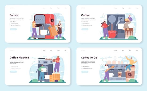 Koffie webbanner of landingspagina set barista die een kop warme koffie maakt