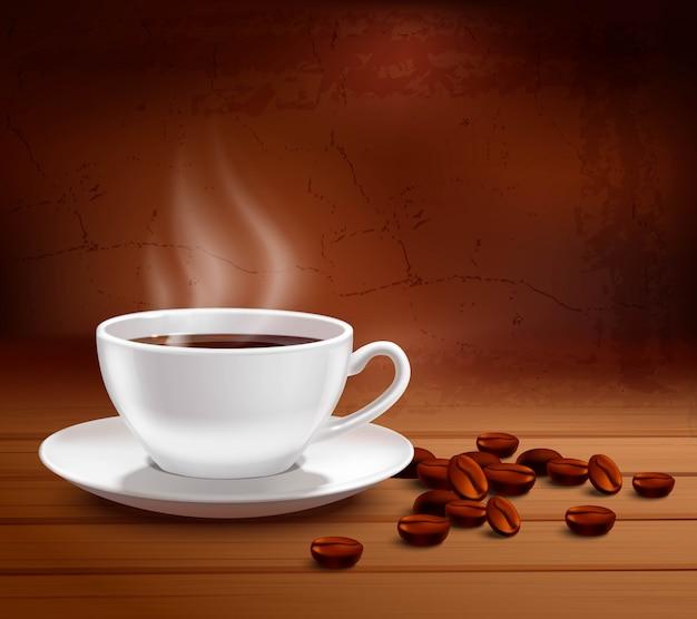 Koffieaffiche met realistische witte porseleinkop op geweven achtergrond