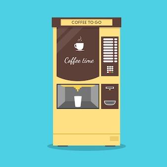 Koffieautomaat. platte ontwerpstijl. maker warme drank.