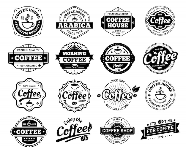 Koffiebadges. cafe logo stempel sticker. restaurant logo. vintage logo geïsoleerd
