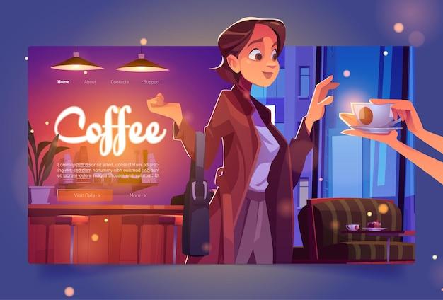 Koffiebanner met vrouw in café