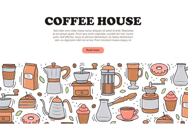 Koffiebanner op witte achtergrondkrabbelstijl