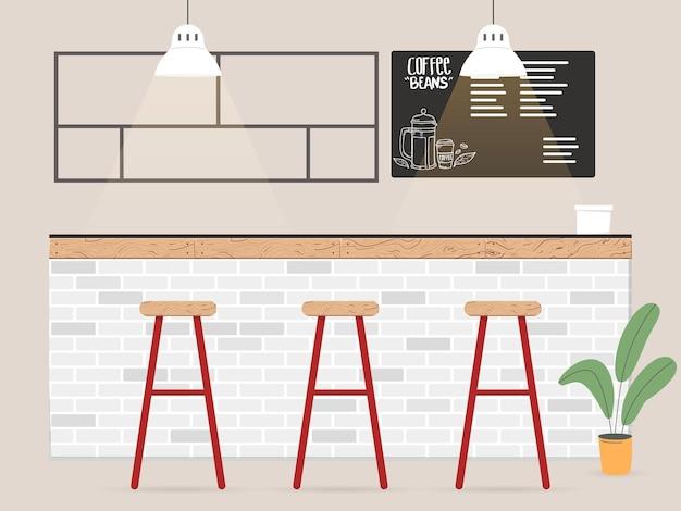 Koffiebar interieur in vlakke stijl