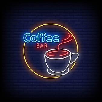 Koffiebar neonreclames stijl tekst vector