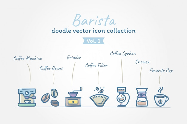 Koffiebarista doodle vector icoon collectie