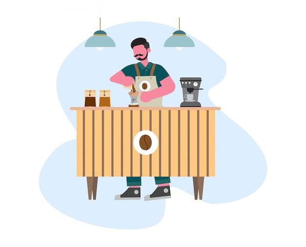 Koffiebarista maakt koffie met koffiemachine vlakke illustratie