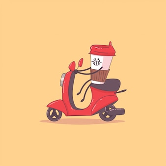 Koffiebezorging. leuk koerierskarakter op de bromfiets. vector cartoon illustratie geïsoleerd.