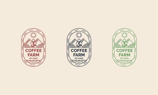 Koffieboerderij logo ontwerp met lijntekeningen concept stijl illustraties. geschikt voor badges, emblemen en iconen