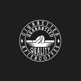 Koffiebonen en sigaretten coffeeshop retro vintage labels café vector logo ontwerp