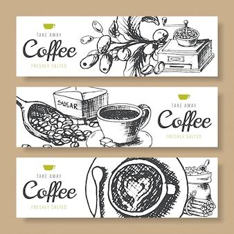 Koffiebonen, gebrande koffie, bannersachtergrond