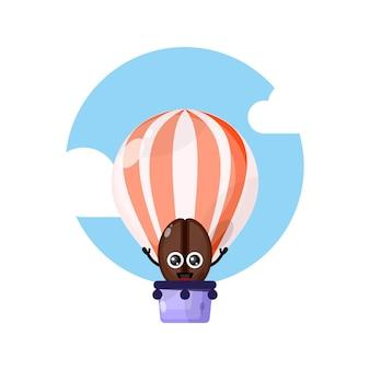 Koffiebonen luchtballon schattig karakter mascotte