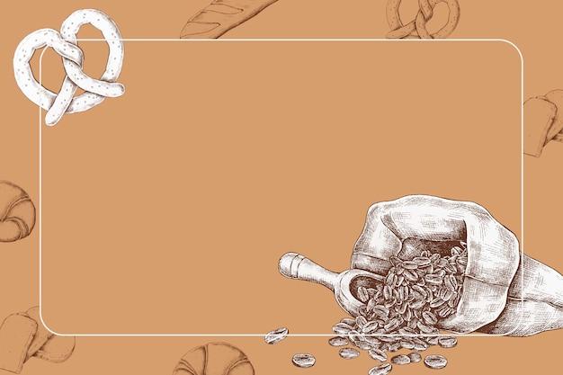 Koffiebonen met een krakeling Gratis Vector
