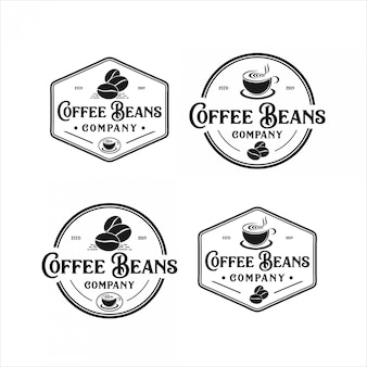 Koffiebonen vintage logo-ontwerp