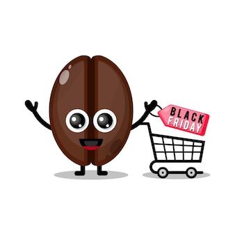 Koffiebonen winkelen zwarte vrijdag schattig karakter mascotte