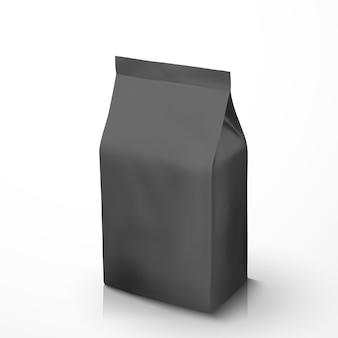 Koffiebonenpakket, zwart foliepakket in afbeelding voor gebruik