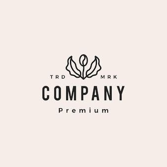 Koffieboon boom blad spruit hipster vintage logo vector pictogram illustratie
