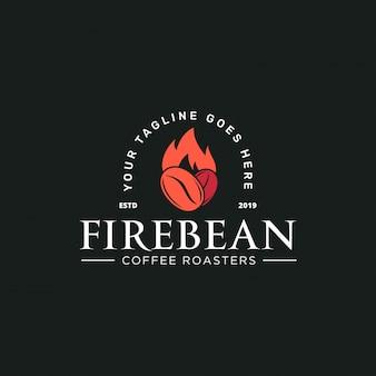 Koffieboon en vuur met rustieke stijl logo sjabloon