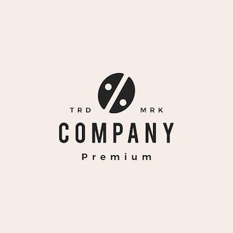 Koffieboon procent hipster vintage logo vector pictogram illustratie