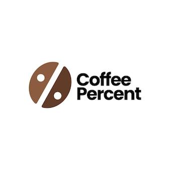 Koffieboon procent logo vector pictogram illustratie