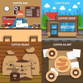 Koffieconcept 4 plat pictogrammenvierkant