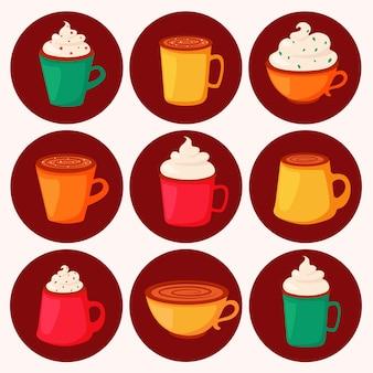 Koffiedag. verschillende soorten koffie in kopjes. in vlakke stijl.