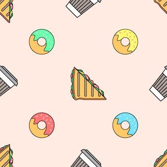 Koffiedocument cup donut sandwich gekleurd naadloos patroon
