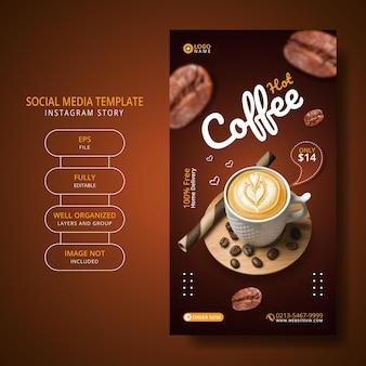 Koffiedrank menu promotie social media post instagram verhaalsjabloon