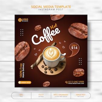 Koffiedrank menu promotie social media post template Premium Vector