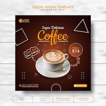 Koffiedrank menu promotie social media post template
