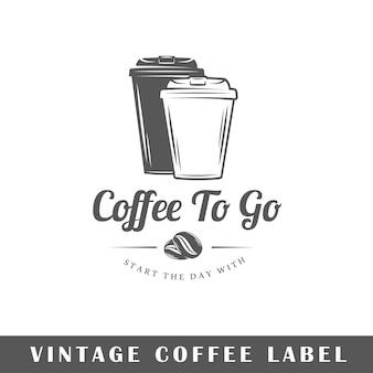 Koffieetiket op witte achtergrond. element. sjabloon voor logo, bewegwijzering, huisstijl. illustratie