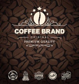 Koffieetiketten en koffiebonenachtergrond