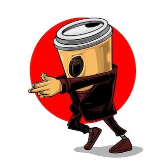 Koffiegeheimagent in zijn donkere kleren