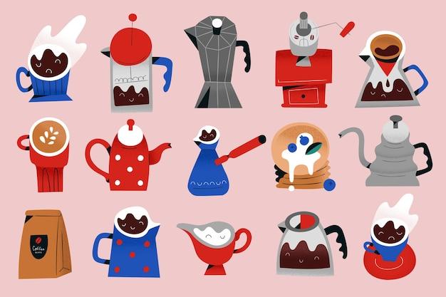 Koffiegereedschap voor het zetten en serveren van koffie