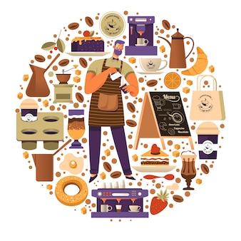 Koffiehop met barista die drankronde maakt