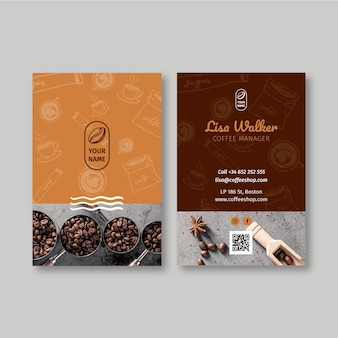 Koffiehuis dubbelzijdig visitekaartje verticaal