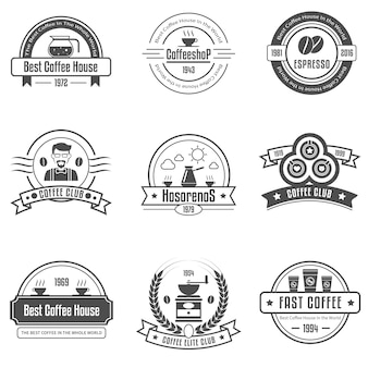 Koffiehuis emblemen set