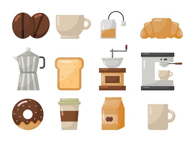 Koffiehuis en dessert pictogrammen instellen isoleren op wit