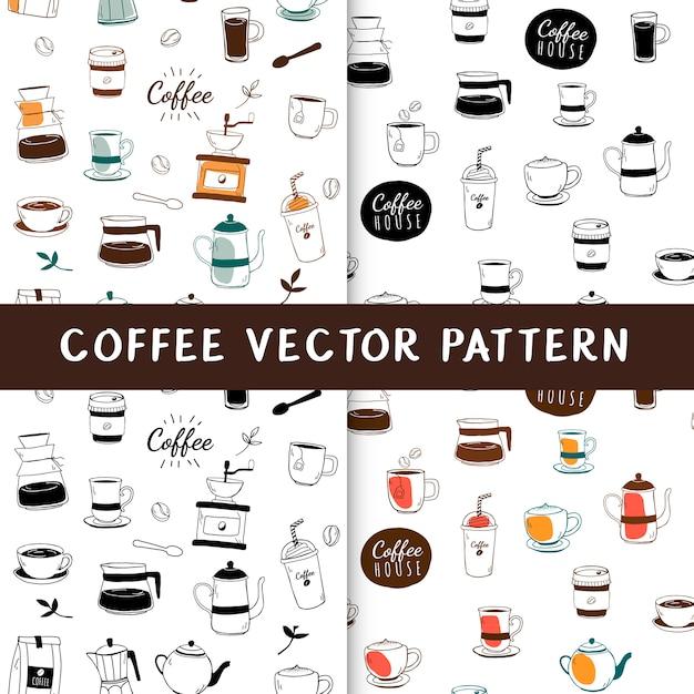 Koffiehuis en koffie naadloze achtergrond