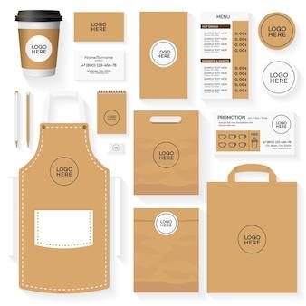 Koffiehuis huisstijl sjabloon ontwerpset. restaurant café set kaart, flyer, menu, pakket, uniforme ontwerpset.