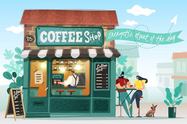 Koffiehuis illustratie.