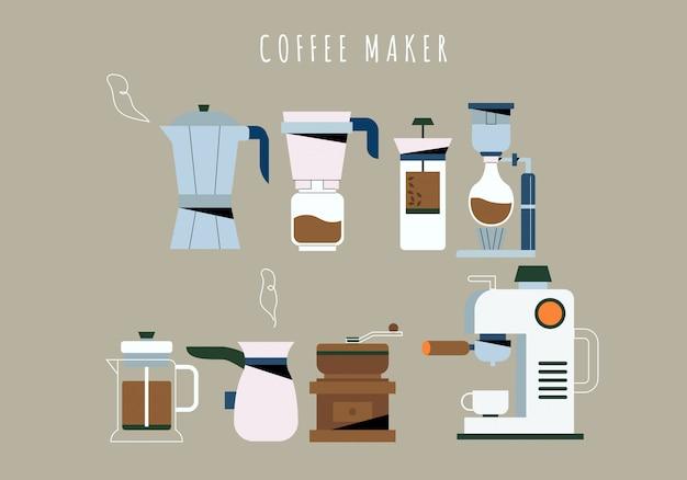 Koffiehuis koffiezetapparaat gereedschap collectie