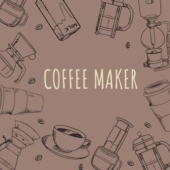 Koffiehuis koffiezetapparaat gereedschap doodle handgetekende