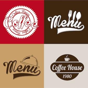 Koffiehuis labels over kleurrijke achtergrond vectorillustratie