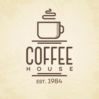 Koffiehuis logo met beker lijnstijl op achtergrond voor café