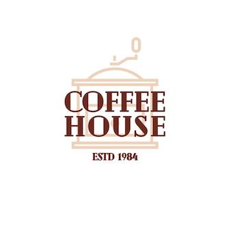Koffiehuis logo met koffie machine lijnstijl geïsoleerd op een witte achtergrond voor café