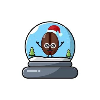 Koffiekoepel kerst schattig karakter logo