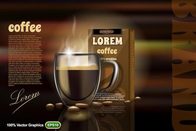 Koffiekop adv, mock-up sjabloon